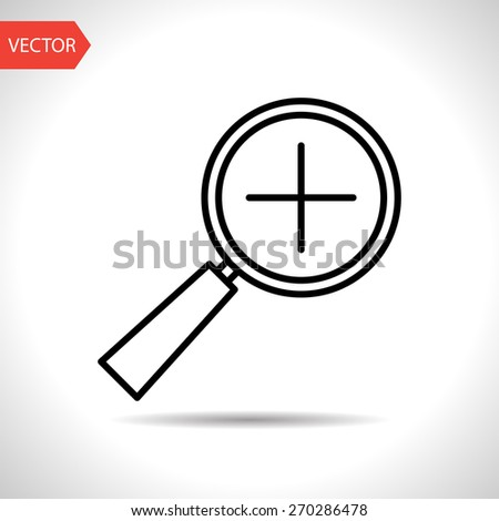 icon of zoom in magnifying glass - stock vector