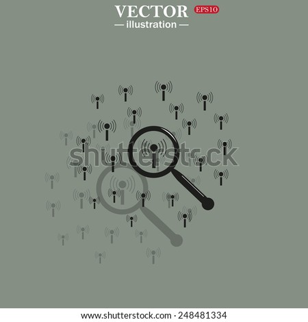 Icon on a green background with shadow. Search wi-fi network , vector illustration, EPS 10 - stock vector