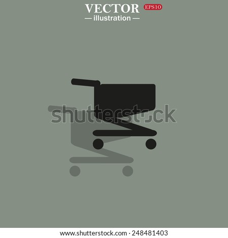 Icon on a green background with shadow. Shopping basket, vector illustration, EPS 10