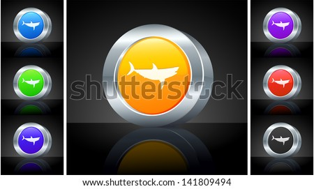 Icon on 3D Button with Metallic Rim Original Illustration  - stock vector