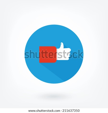 icon on red background. Symbol of famous social network, thumbs up icon. - stock vector
