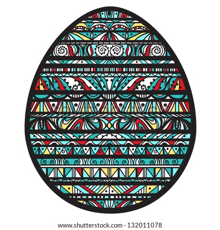 Icon ornamental colorful easter egg with black stripes and colored shapes-vector - stock vector