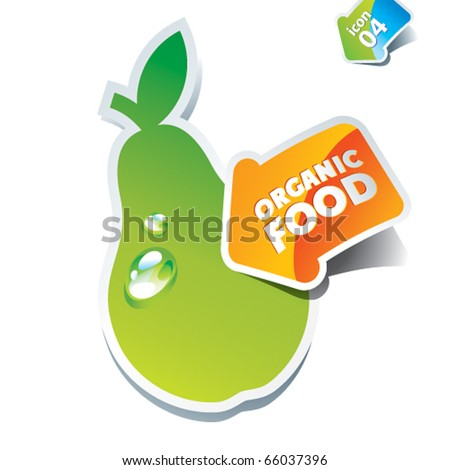 Icon pear with an arrow by organic food. Vector illustration. - stock vector