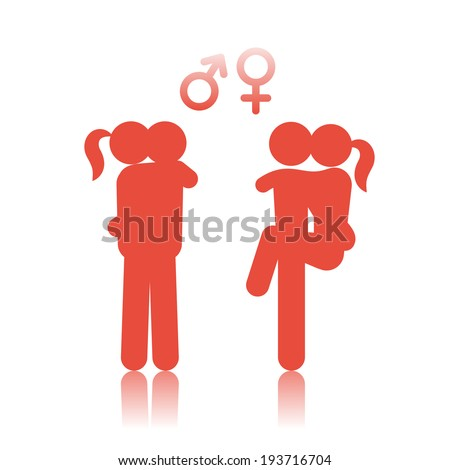 Icon people making love - stock vector