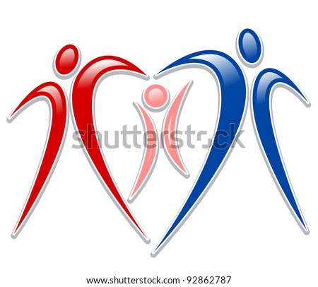 icon person - symbol family holding hands - stock vector