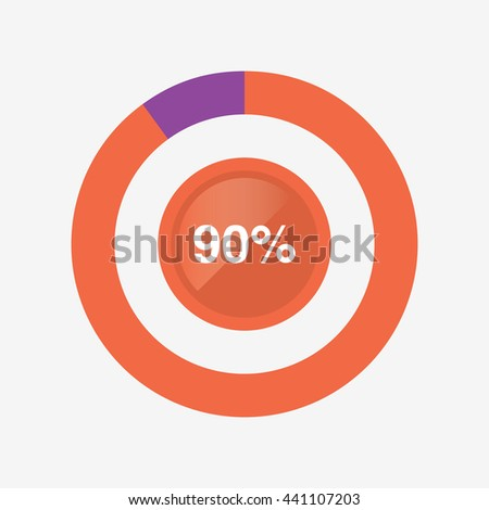 Icon Pie Orange Purple Chart 90 Stock Vector 441107203 Shutterstock