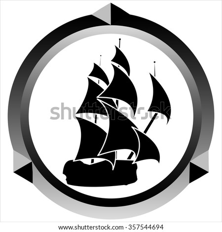 icon pirate sailing ship on white background vector - stock vector