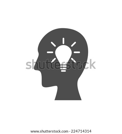 Icon process of generating ideas to solve problems, birth of the brilliant ideas - vector - stock vector