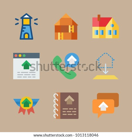 Icon real estate blueprint house lighthouse stock vector royalty icon real estate with blueprint house lighthouse home and house catalogue malvernweather Image collections