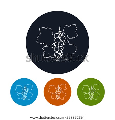 Icon Redcurrant, the Four Types of Colorful Round Icons  Red Currant, in the Contours, Vector Illustration - stock vector