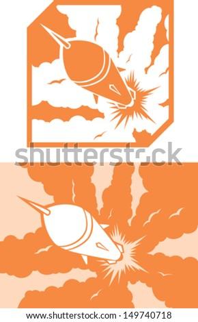Icon Rocket launch  - stock vector