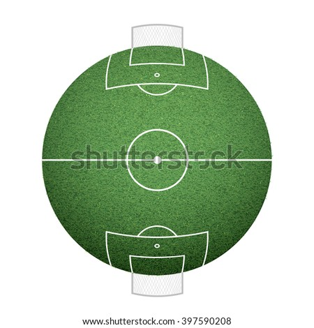 Icon round soccer field on the sphere. lawn texture. Stock vector illustration. - stock vector