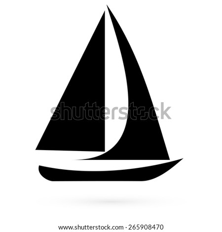 Icon sailboat. Vector.  - stock vector