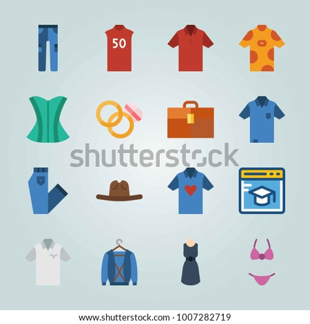 stock vector icon set about clothes and accessories with dress corset and cowboy hat 1007282719 icon set about clothes accessories dress stock vector 1007282719