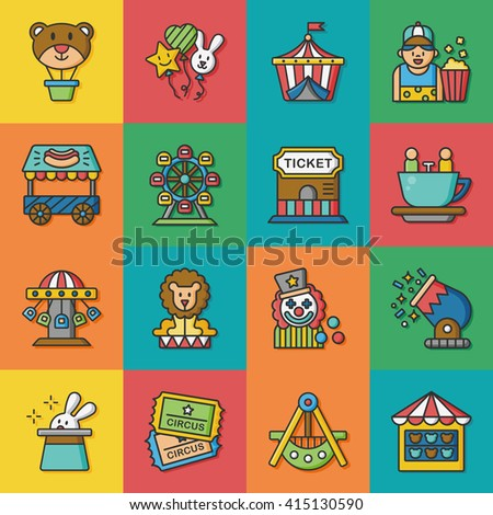 icon set amusement vector - stock vector