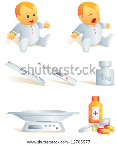 Icon set - baby cry, smile. Thermometer, scales, meter, pills, syrup - medicines. Vector illustration. More of the series in portfolio. - stock vector
