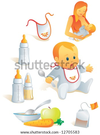 Icon set - baby feeding. Breast-feeding, bib, nursing-bottle, solid food, tea-bag. Vector illustration. More of the series in portfolio. - stock vector