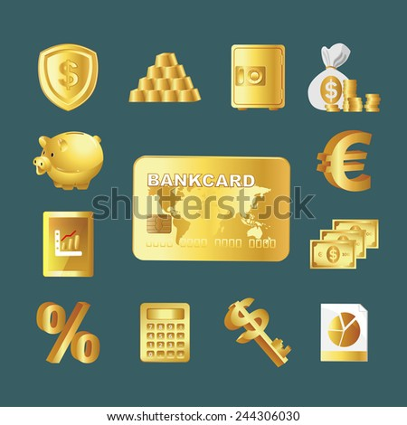 Icon Set - Business - Finance set. Gold - stock vector