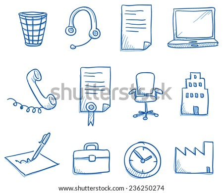 Icon set business office & communication with clock, phone, contract, computer, chair, pen, hand drawn vector doodle - stock vector
