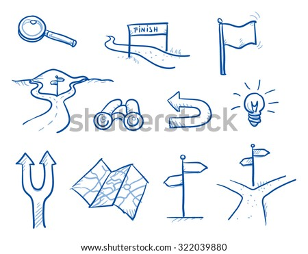 Icon set business search & decision with spy glass, idea bulb, magnifier, road crotch, flag, finish, map. hand drawn vector doodle - stock vector