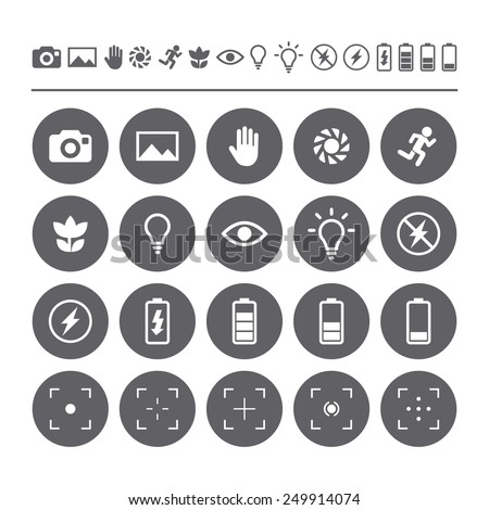 Icon set camera viewfinder display. Flat isolated icons  - stock vector