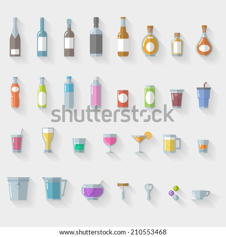 Icon Set  drinks and glasses on white background - vector illustration - stock vector