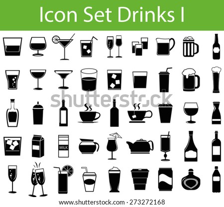 Icon Set Drinks I with 45 icons for different purchase