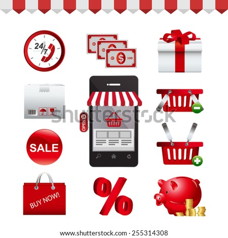 Icon Set - E-shopping - icon - 2 - stock vector