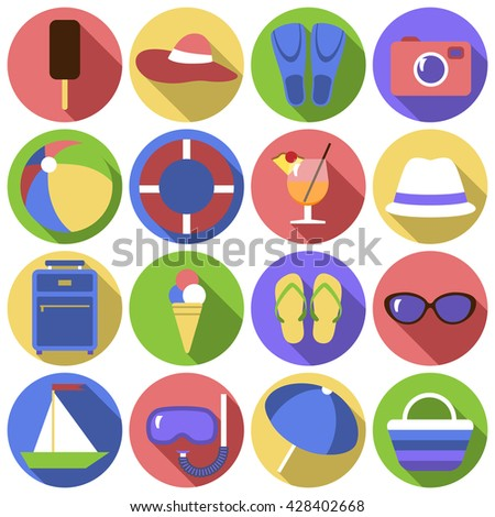 Icon set. Flat travel objects. Umbrella, ball, wallet, cocktail, diving mask, suitcase, camera, boat, fins, popsicle, ice cream, beach bag, collection. Vector illustration. Grouped for easy editing. - stock vector