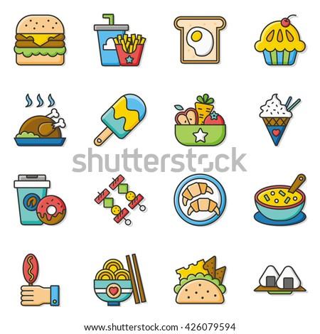 icon set food vector - stock vector