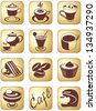 Icon set for coffee break and beverage service - stock vector