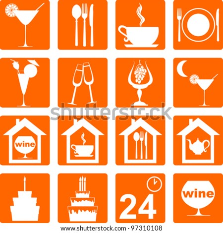 icon set for restaurant, cafe and bar. Vector Illustration - stock vector