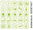 Icon set green Energy - stock photo