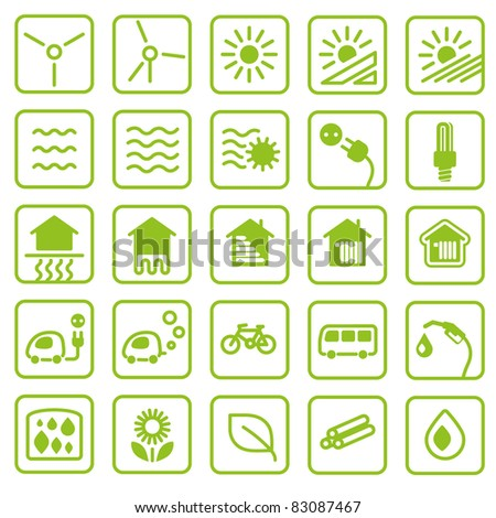 Icon set green Energy - stock vector