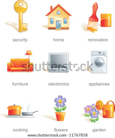 Icon set - home, security, renovation, furniture, electronics, appliances, cooking, flowers, gardens. Aqua style. Vector illustration - stock vector
