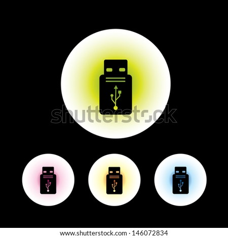 icon set in black background for use