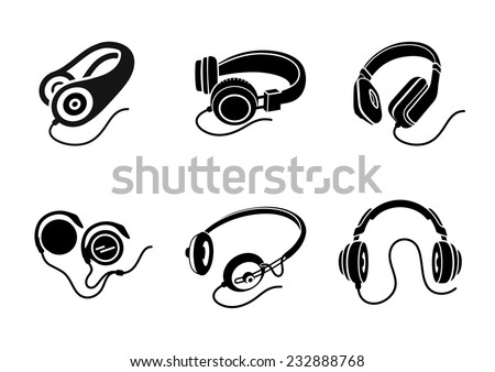 Icon set in black for multimedia devices with different types of headphone designs on white background - stock vector