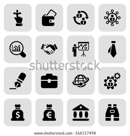 icon set in black with a square for business and human resources - stock vector