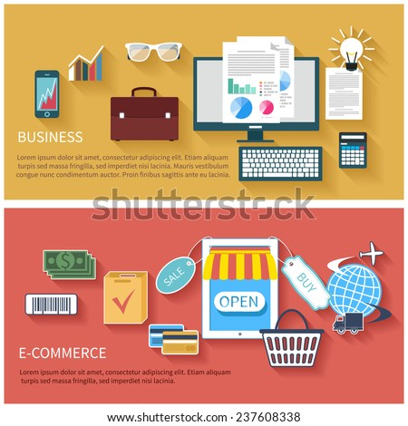 Icon set in flat design of business concepts start up, e-commerce, mobile payment - stock vector