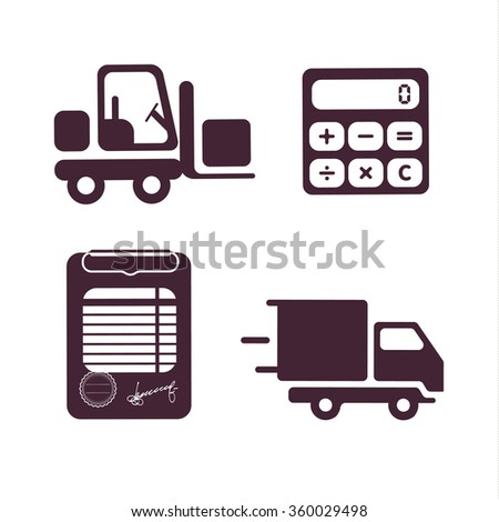 Icon set. Loader. Transportation. Document. Freight. Calculator logo.