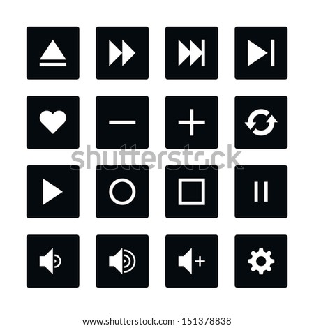 Icon set 06 media player control button. White pictogram on black rounded square button. Solid plain monochrome flat tile. Simple contemporary style. Web design element vector illustration save 8 eps - stock vector