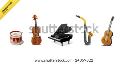 Icon-set of 5 classical music instruments - stock vector