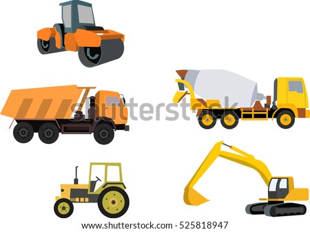 icon set of construction machinery
