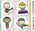 Icon set of doodle happy children band with musical instruments - stock photo