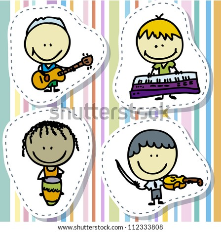 Icon set of doodle happy children band with musical instruments - stock vector