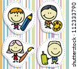 Icon set of doodle happy children with pen, pencil and paintbrush - stock photo