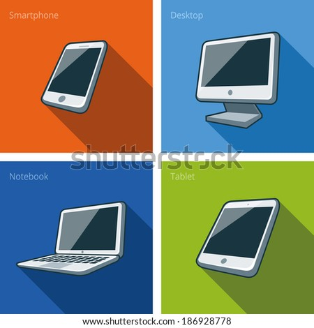 Icon set of four electronics devices in cartoon style  - stock vector