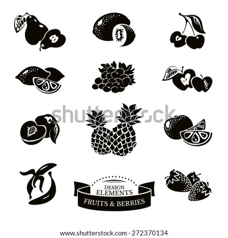 Icon set of fruits and berries vector illustration - stock vector