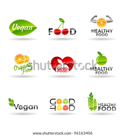 Icon set of healthy eating. Food icons. Set 1. - stock vector