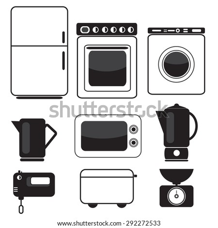 Icon set of kitchen appliances and devices.